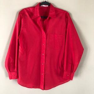 Foxcroft hot pink button down blouse size 8